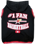 Basketball Hooded Pet Shirt Black Small